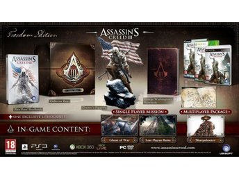 Assassins Creed 3 Collectors Freedom Edition XBOX 360 NYTT & INPLASTAT!!