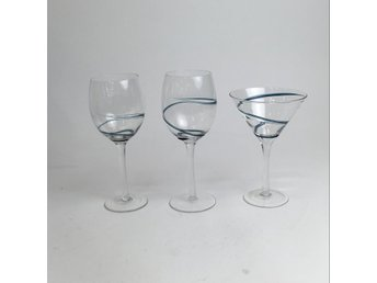 Glas, 3st, Transparent/Blå