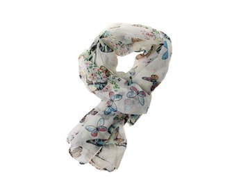 Ladies Girls Chiffong Butterfly Mönster Halsdukar Scarf Sjal