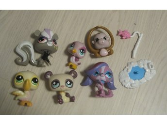 Littlest Pet Shop Lot djur hund apa fåglar skunk panda
