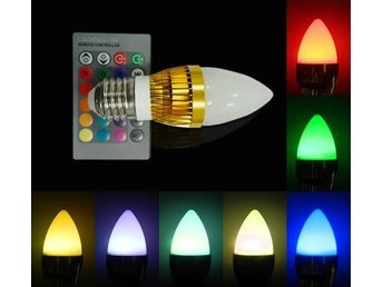 5st 3w E27 RGB Candle LED Lampa Epistar Led Lampor Med Remote Poland Shipping!