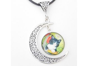 Katt måne halsband / Cat moon necklace
