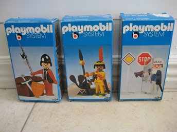 Retro Playmobilfigurer, Polis 3324, Indian 3352, Riddare 3334. 70-tal, i askar