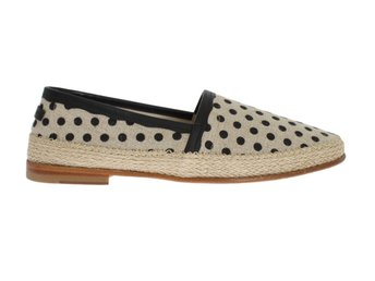 Dolce & Gabbana - White Black Linen Polka Dot Loafers