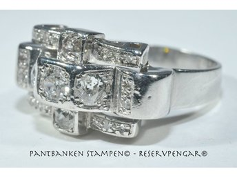 1 underbar vintage platinaring diamanter 0,96ct Ø18mm mv 30 tkr Cert., V11174