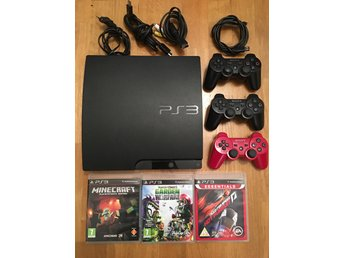 PS3, playstation 3 konsol med tre kontroller & 3 spel
