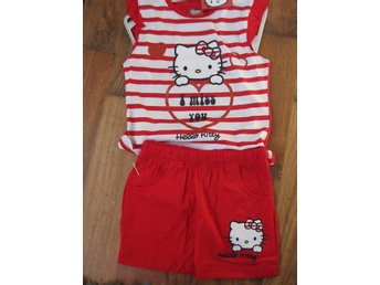 T-Shirt Tröja Barn - Hello Kitty Pyjamas T-shirt + Shorts Röd  vit 5-6  år TH