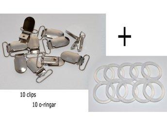 10 Clips 10 o-ringar för Napphållare Nappband Metallclips Nappring DIY - Upplands Väsby - 10 Clips 10 o-ringar för Napphållare Nappband Metallclips Nappring DIY - Upplands Väsby