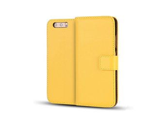Huawei P10 genuine split leather flip case - Yellow