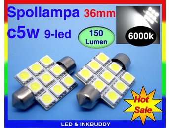 Spollampa 36mm Led lampa med 9st 5050smd chip 6000K  C5W SV8.5 2-pack  39:-