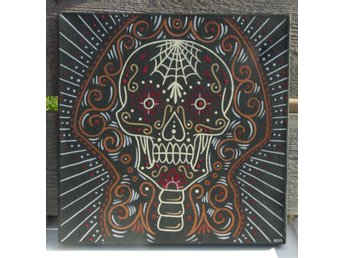 Canvas tavla, julklapp, sugar skull, Rockabilly, design, Karbins Custom