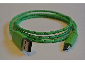 1m GRÖN textilklädd micro-USB till USB-kabel för laddning och dataöverföring - Mölndal - 1m GRÖN textilklädd micro-USB till USB-kabel för laddning och dataöverföring - Mölndal