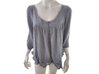 BY SECOND FEMALE 3/4 Sleeve Blouse Size M Gray 100% Cotton Denmark