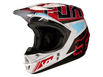 Fox 2017 V1 Falcon Helmet, ECE Grey/Red M - Frövi - Fox 2017 V1 Falcon Helmet, ECE Grey/Red M - Frövi