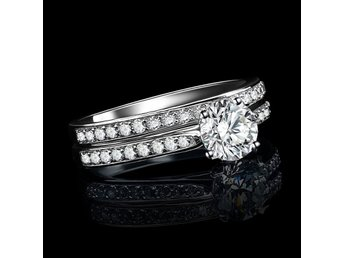HELT NYTT!! Rings Silver Plated Zirconia Crystal Ring FRI FRAKT