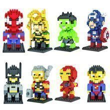 Loz Marvel 4 st Mini byggsatser spiderman hulk loki capten amerika