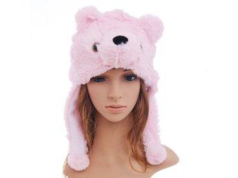 Rosa Mössa NALLE DJURMÖSSA björn tjejmössa hatt keps XS S M SNABB LEVERANS   86c65bc5d98ea