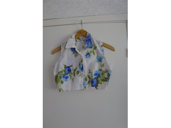 Vintage Retro blommigt blus linne stl M - Henån - Vintage Retro blommigt blus linne stl M - Henån