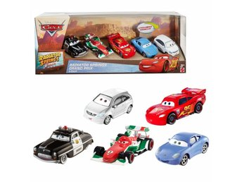 Cars 5x Bilar Present Pack - Sally, Sheriff, Blixten, Francesco mm..
