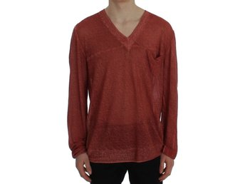 Cavalli - Red V-neck Pullover Linen Sweater