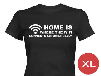 Where Wifi Connects Automatically T-Shirt Tröja Rolig Tshirt med tryck Svart DAM