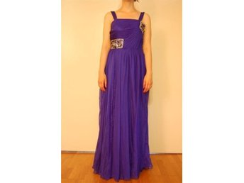 Blue indigo color long dress with bead details, By BG Haute, Size 38