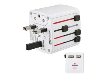 HAMA SKROSS Reseadapter Världen till 2XUSB 2.1A - Höganäs - HAMA SKROSS Reseadapter Världen till 2XUSB 2.1A USB reseladdare, 5 V / 2,1 A som gör att du kan ladda USB-enheter i upp till 150 länder med andra socket system. Laddningsström på max. 2100 mA för snabbladdning. Det patenterade skjutbara  - Höganäs
