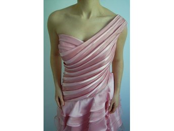 One shoulder satin & organza layered petal rose pink long gown, Size 36