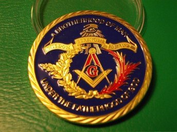 USA - FREEMASON - A Brotherhood Of Man - färgad o Guldförgyld.