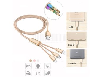 Guld 3in1 Type-C Micro USB Lightning Laddara Kabel Till iPhone Samsung