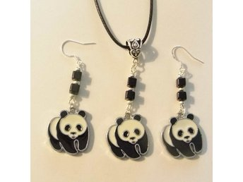 Panda halsband och örhängen set / Panda necklace and earrings set