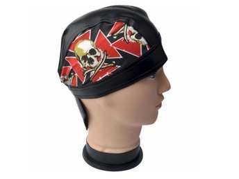 Skull & Iron Cross Läder Cap.