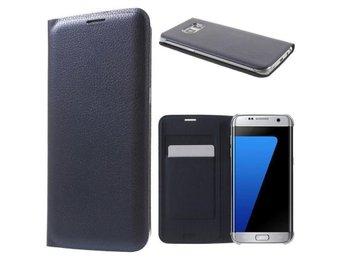 Samsung Galaxy S7 edge Flip wallet Blå - läder flipcover flipwallet skal skydd - Nordmaling - Samsung Galaxy S7 edge Flip wallet Blå - läder flipcover flipwallet skal skydd - Nordmaling