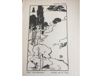ROBERT BURNS  EXLIBRIS THE EVERGREEN 1896 ANTIK TRÄSNITT PLANSCH