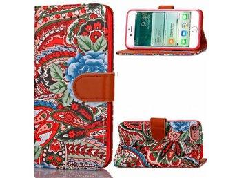Abstrakt Plånboksfodral iPhone 7 - Röd/Blå - Södertälje - Abstrakt Plånboksfodral iPhone 7 - Röd/Blå - Södertälje
