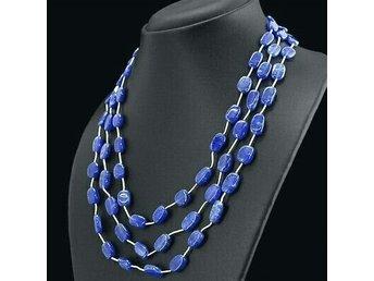 Vackert 3-radigt halsband med safir - Hässelby - Vackert 3-radigt halsband med safir - Hässelby