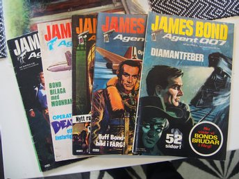 James Bond Nr:20,47,48,50,61  Fint Skick  VG