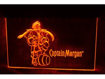 Captain Morgan Skylt LED Röd Logo Reklamskylt Sprit/Bar Ny