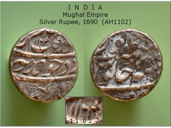 MYNT. INDIA. Mughal Empire. Silver Rupee, 1690