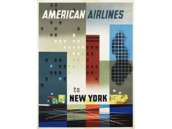NEW YORK American Airline USA ART DÉCO 1956 flyg poster A1