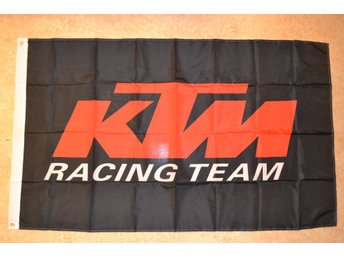 KTM Racing Team Logo (Svart/Röd) Flagga 90*150cm MC Cross Ny
