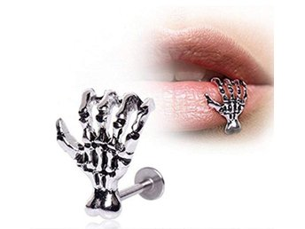 Piercing Skeleton Claw Hand, lip