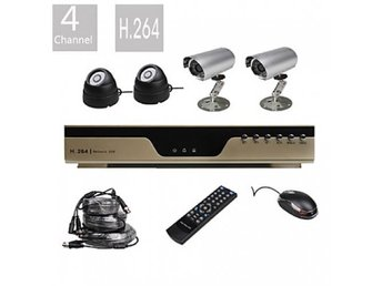 4 Kanals H.264 CCTV DVR Kit med 4 Night Vision CMOS Kameror