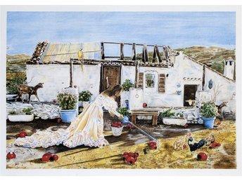 """Färglitografi i original av Caroline af Ugglas """"Farmen"""" - Stockholm - Färglitografi i original av Caroline af Ugglas """"Farmen"""" - Stockholm"""