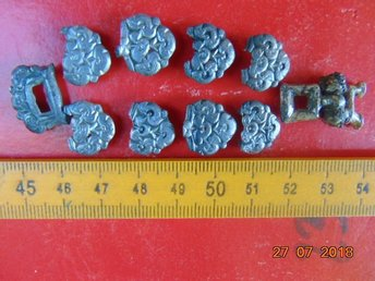 VIKING IX - XII CENTURY Silver decorative elements of a belt or pucker