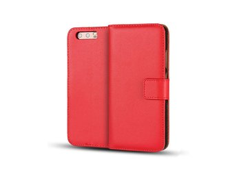 Huawei P10 genuine split leather flip case - Red
