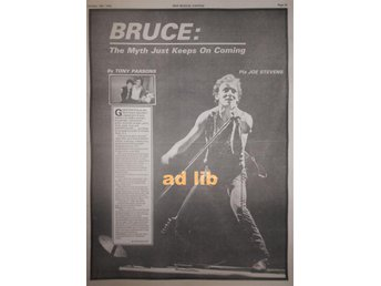 BRUCE SPRINGSTEEN - BRUCE IS THE WORD, THE MYTH STOR TIDNINGSARTIKEL 1978