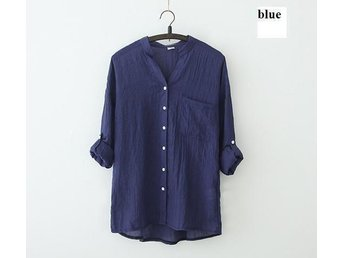 Womens linne skjorta blå size XL - Beijing - Womens linne skjorta blå size XL - Beijing