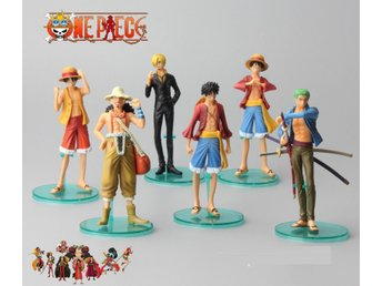 "6 pcs 14cm / 5.5"" Anime One Piece Luffy Roronoa Zoro Action Figures"