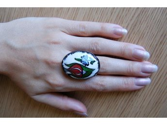Oversized Tile Tulip Ring, Multicolor, One Size